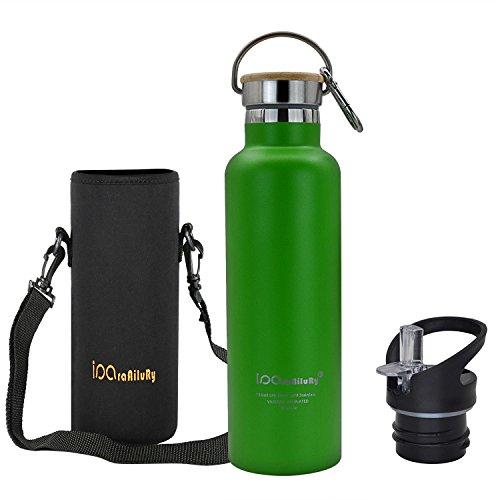 Trinkflasche Edelstahl mit Bambus Kappe (2 Trinkverschlüsse) - iParaAiluRy BPA freie Thermosflaschen 500/600/750/1000ml - Vakuumisolierte Doppelwandig Edelstahlflasche für Outdoor, Büro, Camping, Sport - Flasche Edelstahl (Hund Halter Gläser)