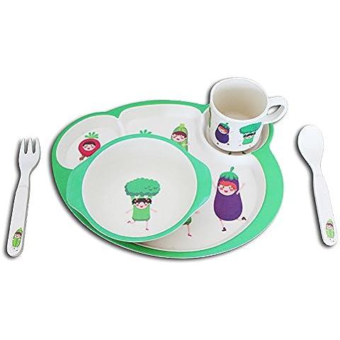 De dibujos animados sub-rejilla de comer del plato juegos de cubiertos de fibra de bambú de personas en silla de bebé Bowl Snack-Cuchara Alimentación Complementaria (una variedad de patrones opcionales) ( Color : B )