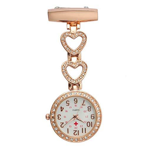 ESden Fashion wasserdichte Taschenuhr mit Clip, Quarz, Brosche zum Aufhängen, Medizinische Uhr