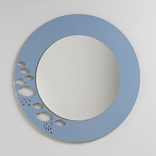 Miroir rond mural pour enfants - Nuages grand - 80 x 80 cm - Laquée blanc