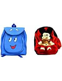 Pratham Enterprises Combo Of Blue Smile Bag And Red Soft Toy Bag ( Pack Of 2 )