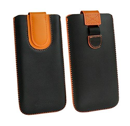 emartbuy Schwarz/Orange Premium-Pu-Leder-Slide In Case Abdeckung Tashe Hülle Sleeve Halter (Größe D) Mit Zuglaschen Mechanismus Geeignet Für Die Unten Aufgeführten Smartphones