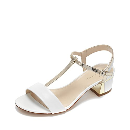 Summer Low Heel Tau Schuhe/Simple Round Head Bump Color Thong Sandale A