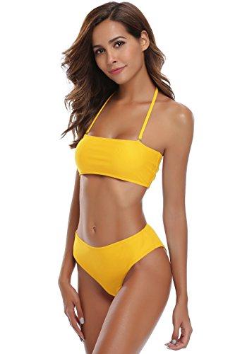 SHEKINI Damen Bandeau Bikini Set Abnehmbar Neckholder Gepolstert Badeanzug Badeanzüge (Large, Gelb)