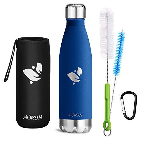 AORIN Vakuum-Isolierte Trinkflasche aus Hochwertigem Edelstahl - 24 Std Kühlen & 12 Std Warmhalten Pulverlackierung Kratzfestigkeit Leicht zu reinigen. (500ml, DunkelBlau)