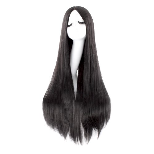 e Kostüm lange gerade Cosplay Perücke Partei Perücke (schwarz) (Anime Perücken)