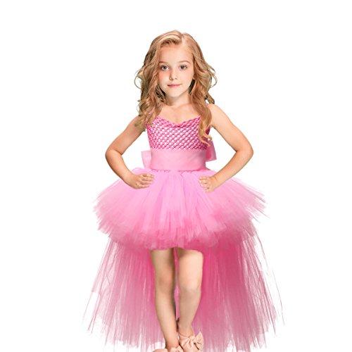 HBBMagic Kleid Mädchen Tutu Kleid Prinzessin Kleid Mädchen Ballett Rock für Hochzeit Party Tanzparty Mädchen Kleid (5-6 Jahr, Rosa Kleid Mädchen)