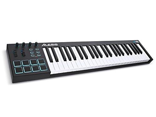 Alesis V49 USB Pad/Tastatur Controller mit 49 Tasten, 8 anschlagdynamische-Pad mit 4 zuweisbare Regler und Taster