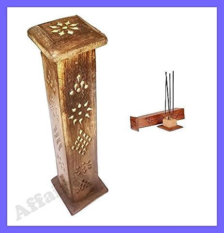 Holz Räucherstäbchen Brenner Halterung Tower 30,5cm, Geschenk für Weihnachten oder