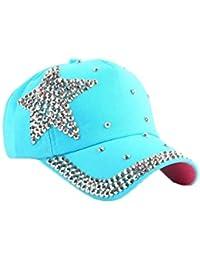 Gorra de bebe Sombrero de mezclilla infantil en forma de estrella de  diamantes de imitación de bebé Gorra de béisbol Sombrero de sol para… 7f1d19253a1