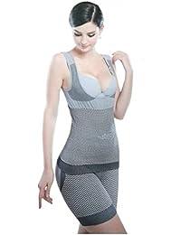 99f841387 SWEET SWEAT WAIST TRIMMER® Women S Lycra Grey Slimming Suit Shapewear Pack  Of 2