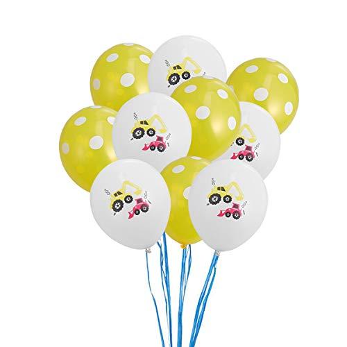 TOYANDONA BAU Geburtstag Dekoration Partei Liefert Fahrzeug Party Favors 10 stücke (5 stücke Weiß + 5 stücke Gelb Luftballons mit Weißem Punkt)