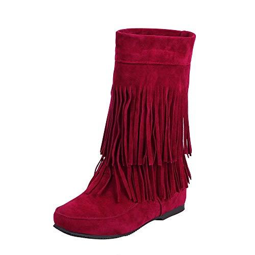 QINGMM Frauen Wildleder Fransen Stiefel 2018 Herbst Flache Mode Booties,rot,36 EU (Bootie Wildleder Fransen)