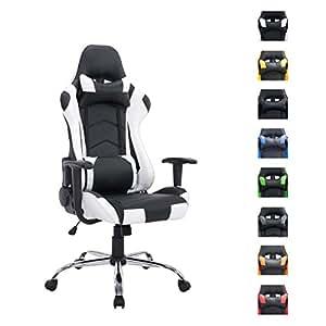 CLP Fauteuil de bureau MIRACLE, Chaise bureau avec revêtement en simili cuir, siege racing/sport de luxe noir/blanche
