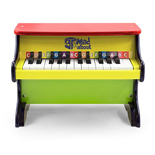 Mad About MWP-CL Kids Wooden Toy Piano 25 Colour Coded Keys, Two Octaves with Free Song Book