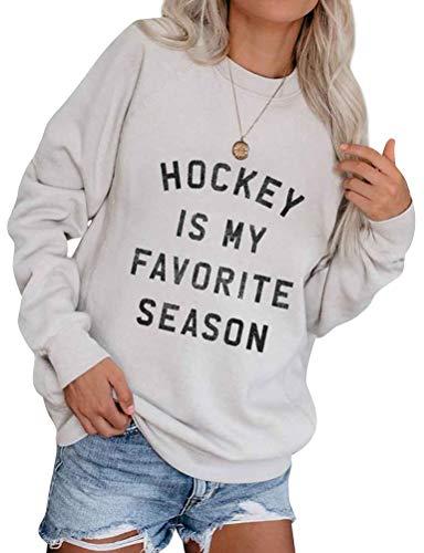 Dresswel Damen Hockey is My Favorite Season Sweatshirt Pulli Pullover Langarmshirt mit Rundhalsausschnitt Oberteile Bluse