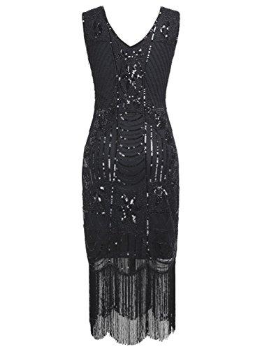 PrettyGuide Damen 1920er Gatsby Pailletten Art Deco Fransen Cocktail Flapper Kleid Schwarz
