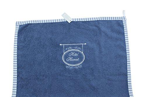 Handtuch/Bad Gäste Hand-Tuch Blau Weiße Stickerei Hotel Heimat 100 x 50 cm Frottee Fairtrade Ringelsuse