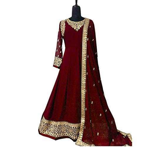 AnK Women's Georgette Long Anarkali Semi Stitched Salwar Suit With Dupatta (Maroon; Free Size)