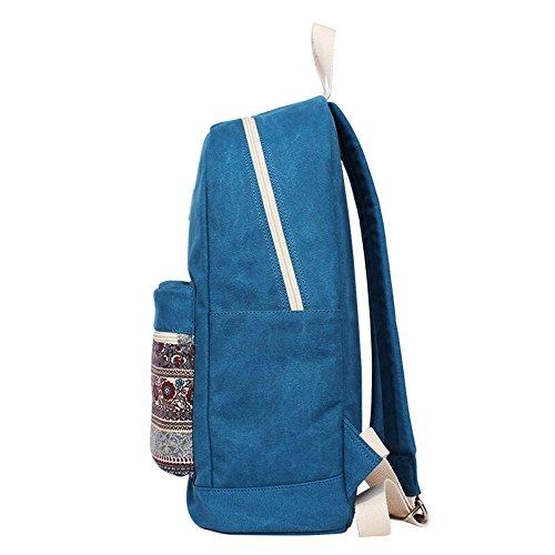 Bwiv Rucksäcke Canvas Unisex Schulrucksack Vintage Schultertasche Daypack Outdoor Backpack Damen Herren Tasche für Retro Reisetaschen Lässige Blau S Blau