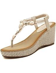 Minetom Mujer Elegante Sandalias De Cuña Estilo Bohemio Verano Zapatos Dedo Del Pie Del Clip Sandalias