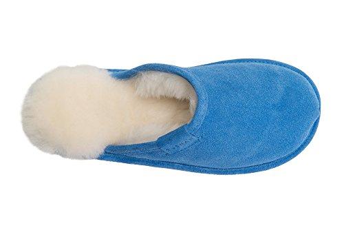 Chaude Peau de Mouton et de la Laine Naturelle Pantoufles Mule pour Femme Bleu