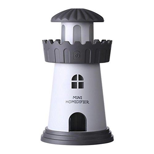 Jaminy 150ML Lampe Luftbefeuchter Leuchtturm LED Luftbefeuchter Luft Diffusor Reiniger Zerstäuber (Grau) (Chanel Wohnungen)
