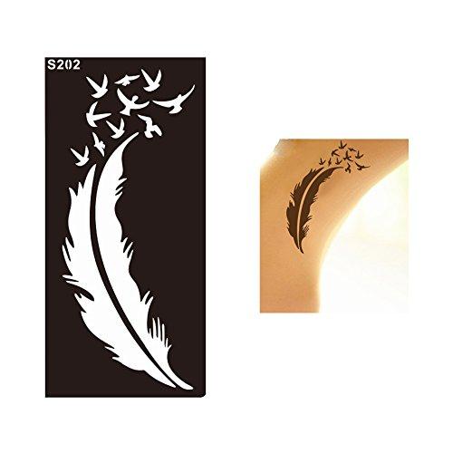 TATTOO Schablone Feder und Vögel Design S202 für Körperbemalung