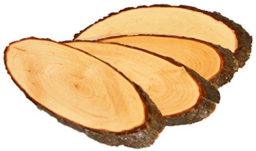 4er Set Holzbrett / Holzscheibe 32-39 cm aus massiver Erle gefertigt und lackiert Brotzeitbrett Jausenbrett Rindenscheibe