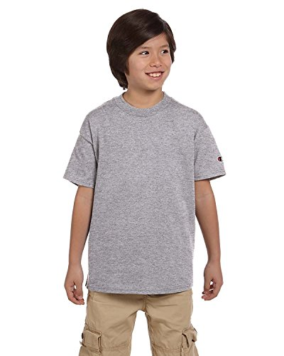 Champion Youth 6.1 OZ. Short-Sleeve T-Shirt, Small, Light Steel (Tee Sleeve Youth)