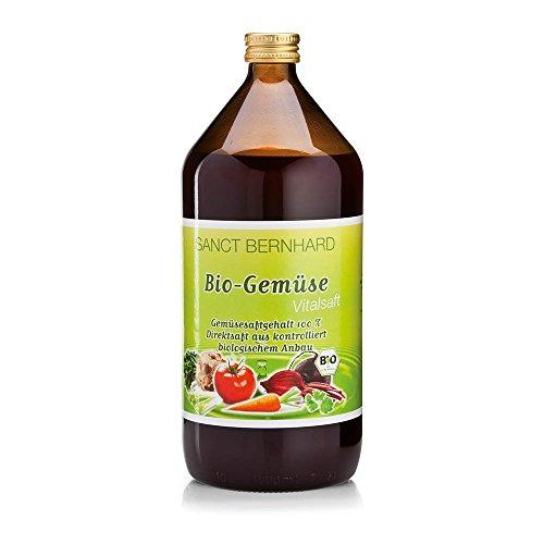 Sanct Bernhard Bio Gemüse Vital-Saft 100% Direktsaft ohne Zusatz von Zucker oder Konservierungsstoffen, 1-Liter-Glasflasche