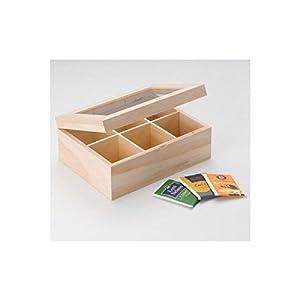 GLOREX boîte à thé en bois, naturel, 22x 15,5x 9cm