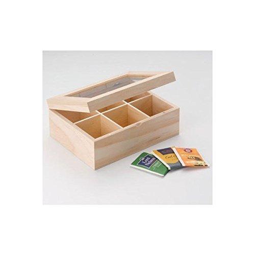 GLOREX Holz-Teebox, Natur, 22 x 15.5 x 9 cm