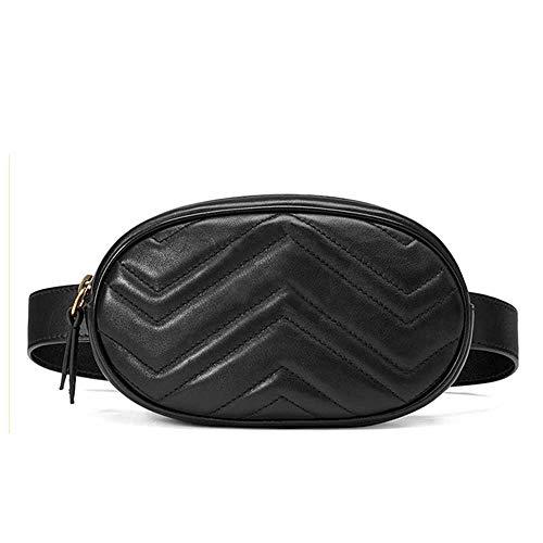 BEIMOXIAO Frauen Gürteltasche Mini Runde Gürteltasche Tasche Gesteppte Leder Gürteltasche Casual Damen Crossbody Reise Brusttasche -