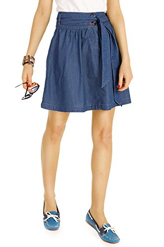 Bestyledberlin Damen Röcke, Jeansrock ausgestellt, Taillenrock knielang, Baumwoll Rock A-Linie r18p L (Rock Womens Baumwolle Designer)