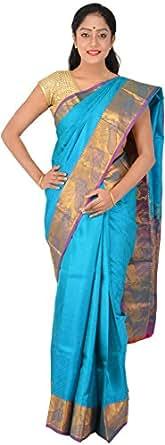Pothys Silk Saree (Pvp113_Peacock Blue): Amazon in: Clothing