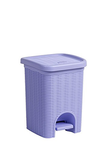 Tretmülleimer im Rattan Design mit herausnehmbaren Einsatz und 6 Liter Volumen in der Trendfarbe Lila - für das Bad, die Küche oder das Büro