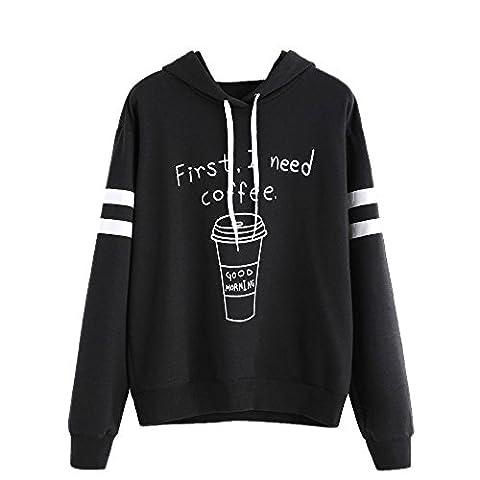 Hoodie Pullover Halloween Damen Xinan Druck Langarm Shirt Sweatshirt Bluse (S, Schwarz)