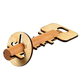 Isuper IQ Giocattolo Kongming Lock Wooden Interlocking 3D Jigsaw Puzzle Rompicapo Regalo per Bambini e Adulti (Key)