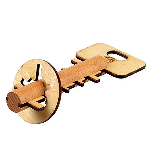 mxdmai Holz Puzzle Spielzeug Jiasaws Mysterious Cube Spielzeug Kongming Verschluss Denksportaufgaben IQ Spielzeug Geschenk für Kinder und Erwachsene, Schlüssel