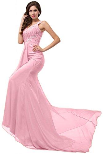 Sunvary trasparente, taglio Slim, con fodero sirena Prom Tulle Pageant per vestiti Rosa
