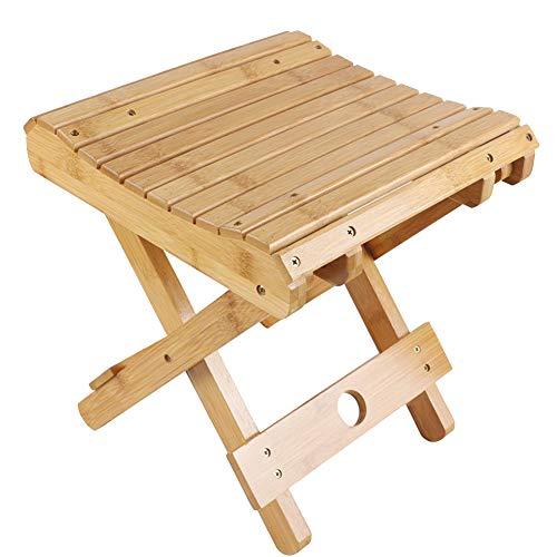 LshkyLYD Faltbarer Duschhocker aus Bambus, einfache zusammenklappbare tragbare robuste Wasserdichte Duschstuhl im Freien kleine Bank Badezimmer Bad Stuhl
