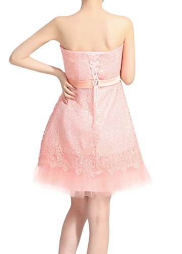 Eyekepper Brautjungfer Lace traegerlos Bogen A-line Mini Abendkleid Rosa