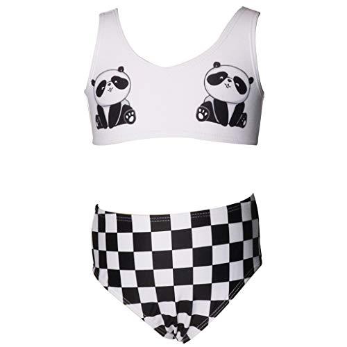 Damen Mädchen Badeanzug Halter Bikini Set Mutter Tochter Familie Set Bademode Damen Familien Badeanzug Split Bikini Panda Print Sleeveless Set [Frau] -