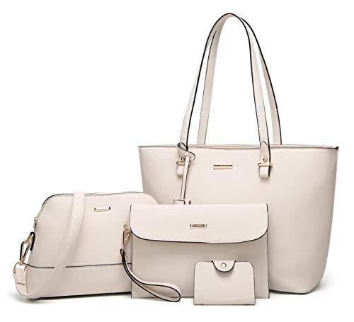 ELIMPAUL Damen Handtaschen Schultertasche Geldbörse Kartenhalter Tasche set 4pc (Beige)