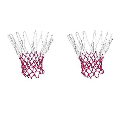 Como 2 Pcs 12 boucle nylon tressé ficelle nouée filets rouges de basket-ball blanches