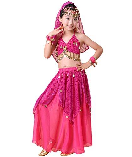 Anguang Kinder Mädchen Maxirock Camisole Top Pailletten Bauchtanz Kostüm Rose#1