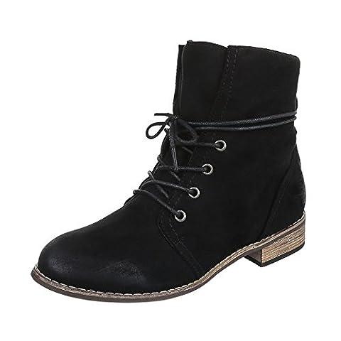 Schnürstiefeletten Damen-Schuhe Biker Boots Blockabsatz Blockabsatz Schnürsenkel Ital-Design Stiefeletten Schwarz, Gr 39, Zy2282-