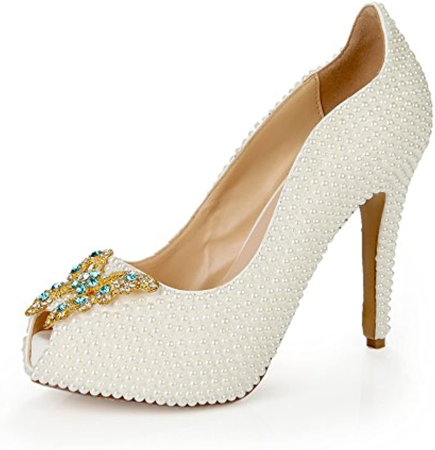 Lacitena Womens Ladies Pearl Butterfly Style High Heel Toe Pumps Peep Toe Heel Butterfly Style Pearl Wedding Shoes 17216b