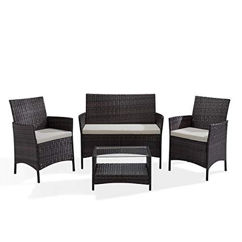SVITA Brooklyn Gartenmöbel Poly Rattan Sitzgruppe Essgruppe Set Sofa-Garnitur Lounge Braun, Grau oder Schwarz (Braun) - Garten Vier